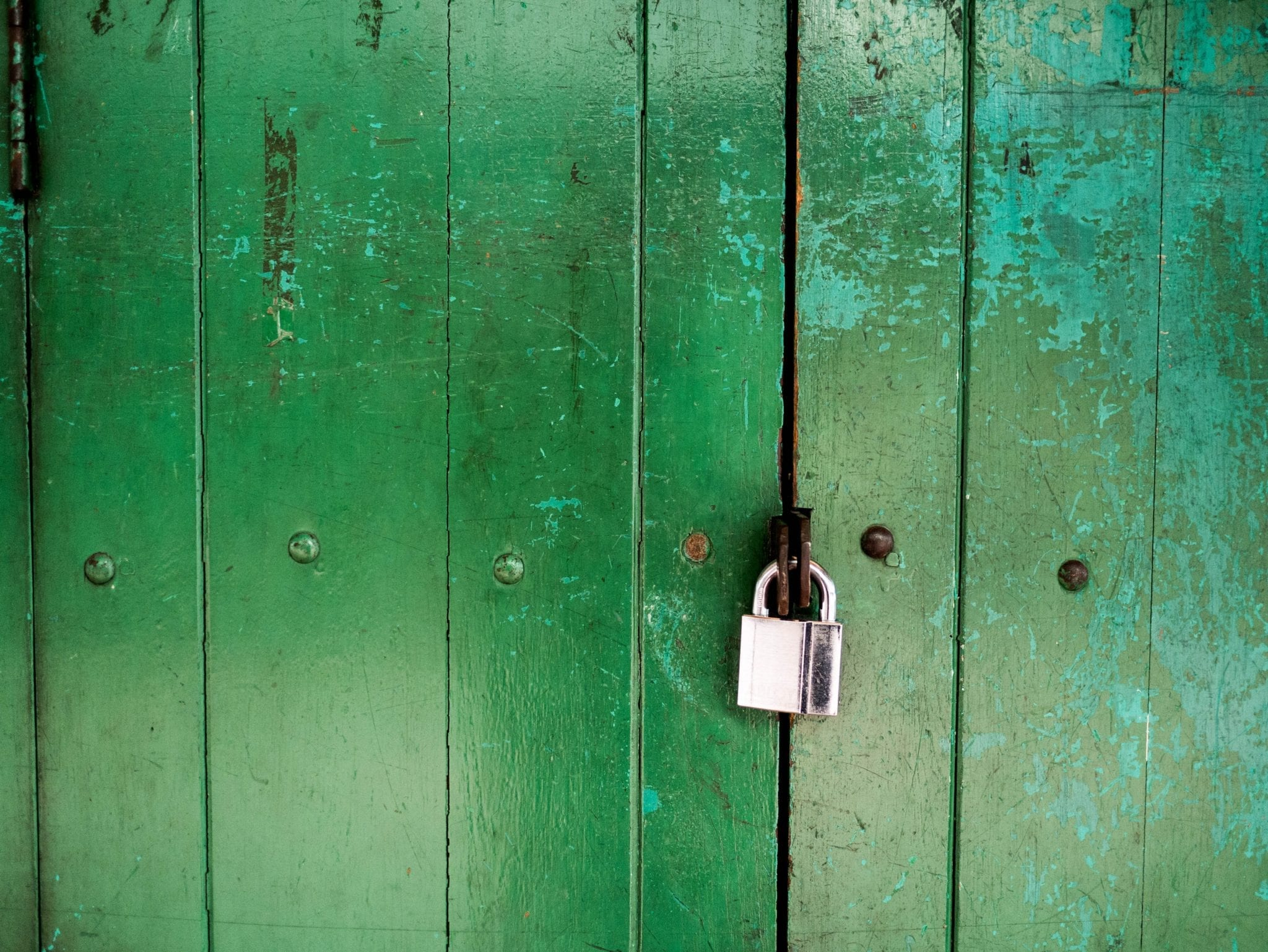 """brute force attack"" represented by padlocked green door"